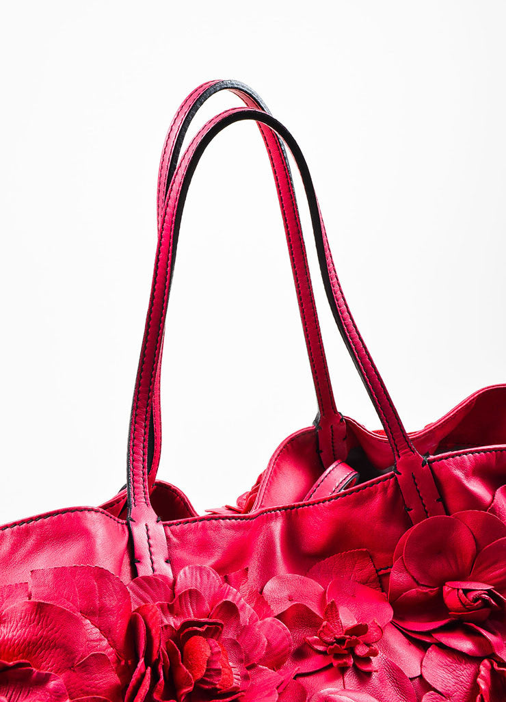 Raspberry Pink Valentino Leather Floral Rosette Oversized Tote Bag