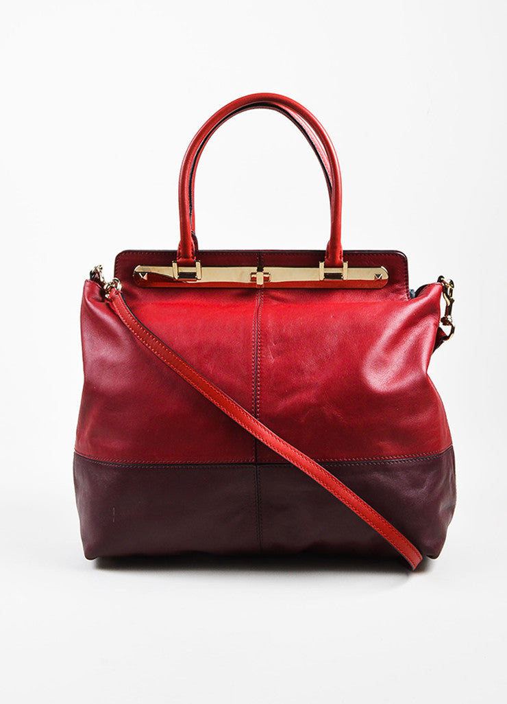 "Valentino Red and Burgundy Leather ""Claret"" Colorblock Tote Bag Frontview"