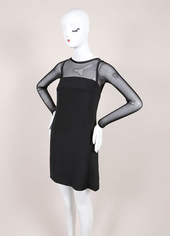 Vera Wang Black Woven Mesh Trim Long Sleeve Shift Dress Sideview