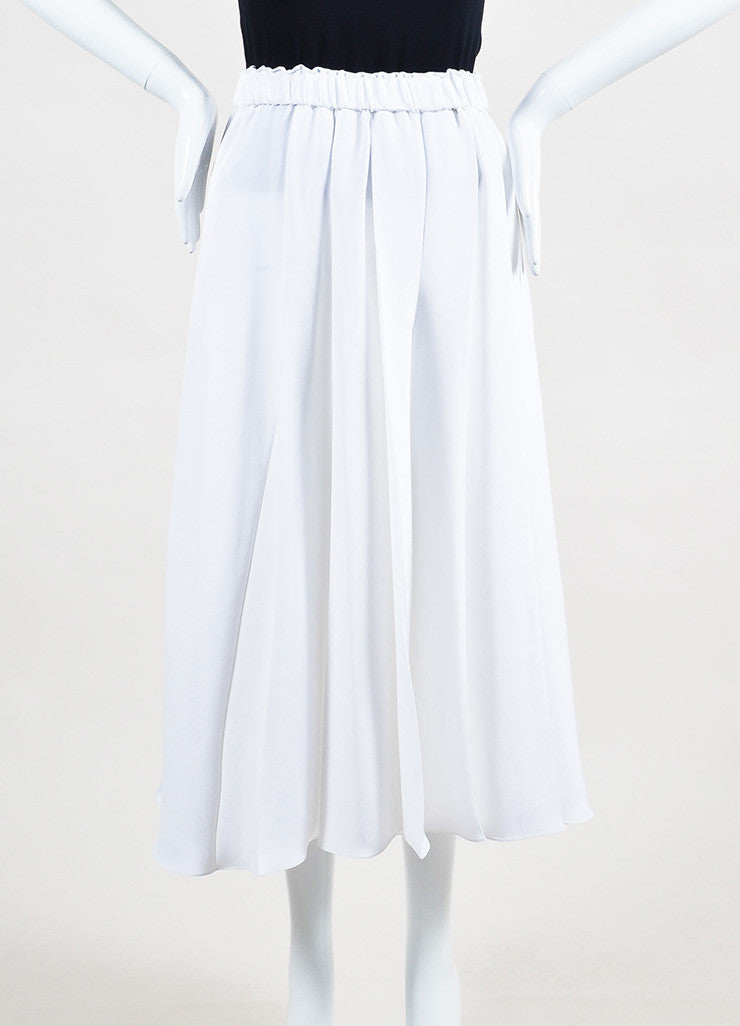 White Victoria Beckham Silk Crepe Pleated Culottes Front 2