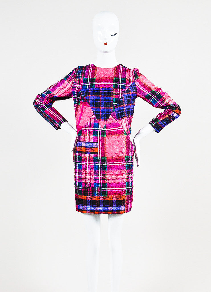 Victoria Victoria Beckham Multicolor Plaid Crinkle Shift Dress Frontview