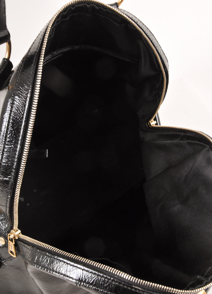 "Yves Saint Laurent Black and Gold Toned Patent Leather Oversized ""Muse"" Bag Interior"