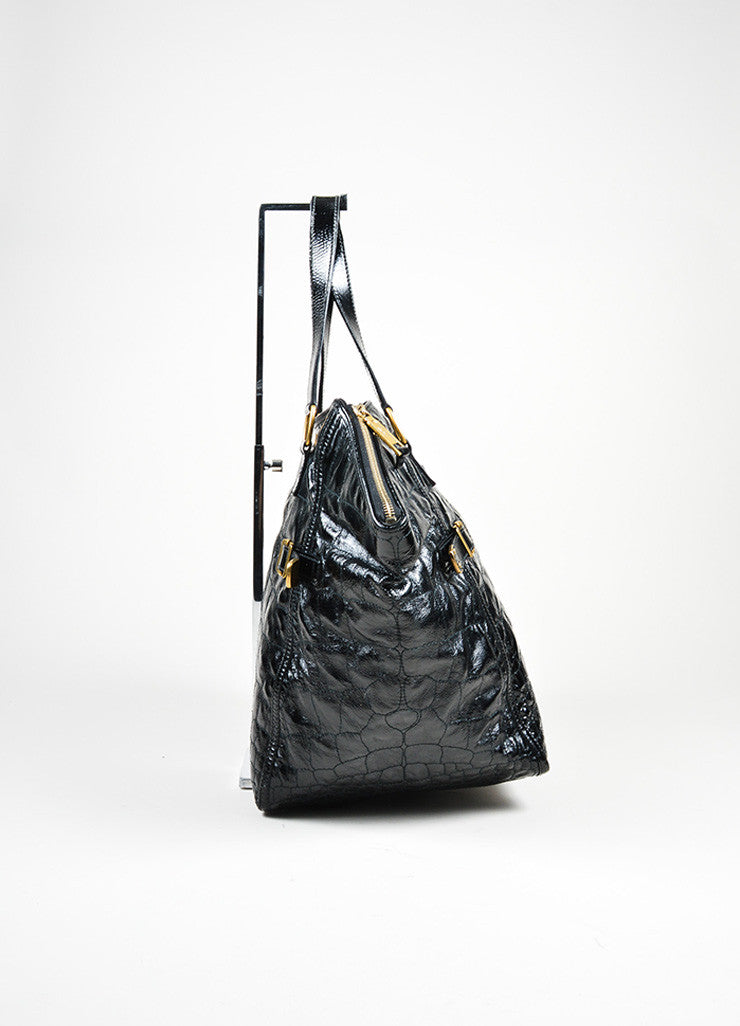 "Black Yves Saint Laurent Patent Leather Quilted Crocodile ""Downtown"" Tote Bag Sideview"