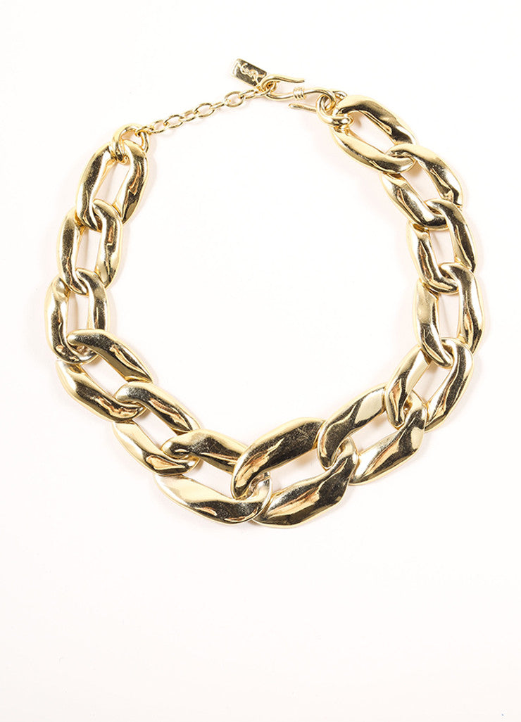 Yves Saint Laurent Gold Toned Chain Oversized Oval Link Necklace Frontview