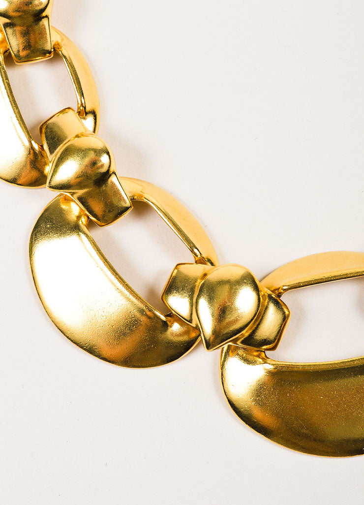 Yves Saint Laurent Gold Toned Oval Cut Out Chain Link Collar Choker Necklace Detail