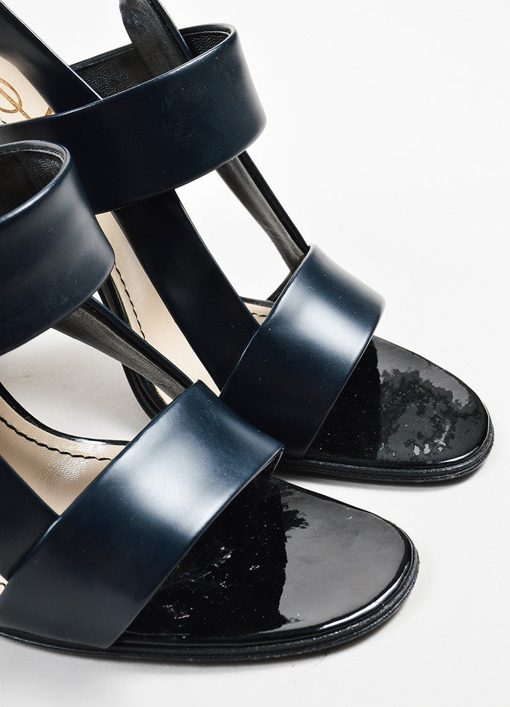 Yves Saint Laurent Rive Gauche Black and Beige Leather and Wood Chunky Sandals Detail