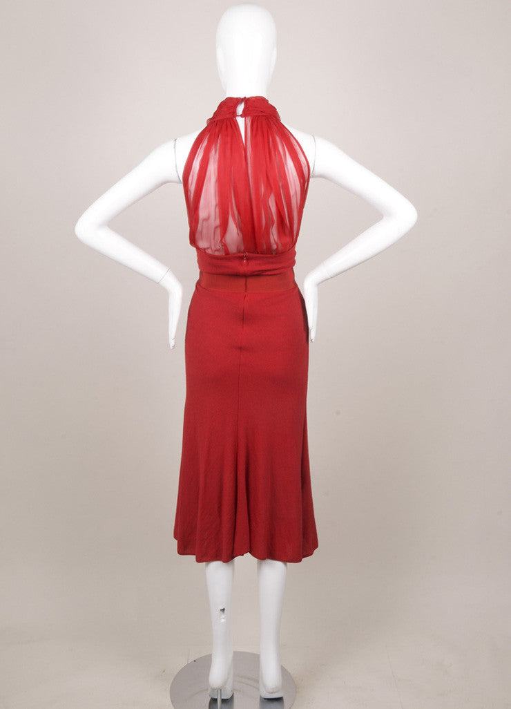 Giambattista Valli Red Wool Knit Silk Chiffon Dress Backview