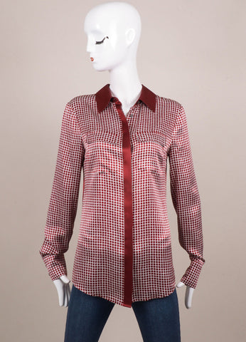 10 Crosby Derek Lam Dark Red and White Check Print Silk Long Sleeve Blouse Frontview
