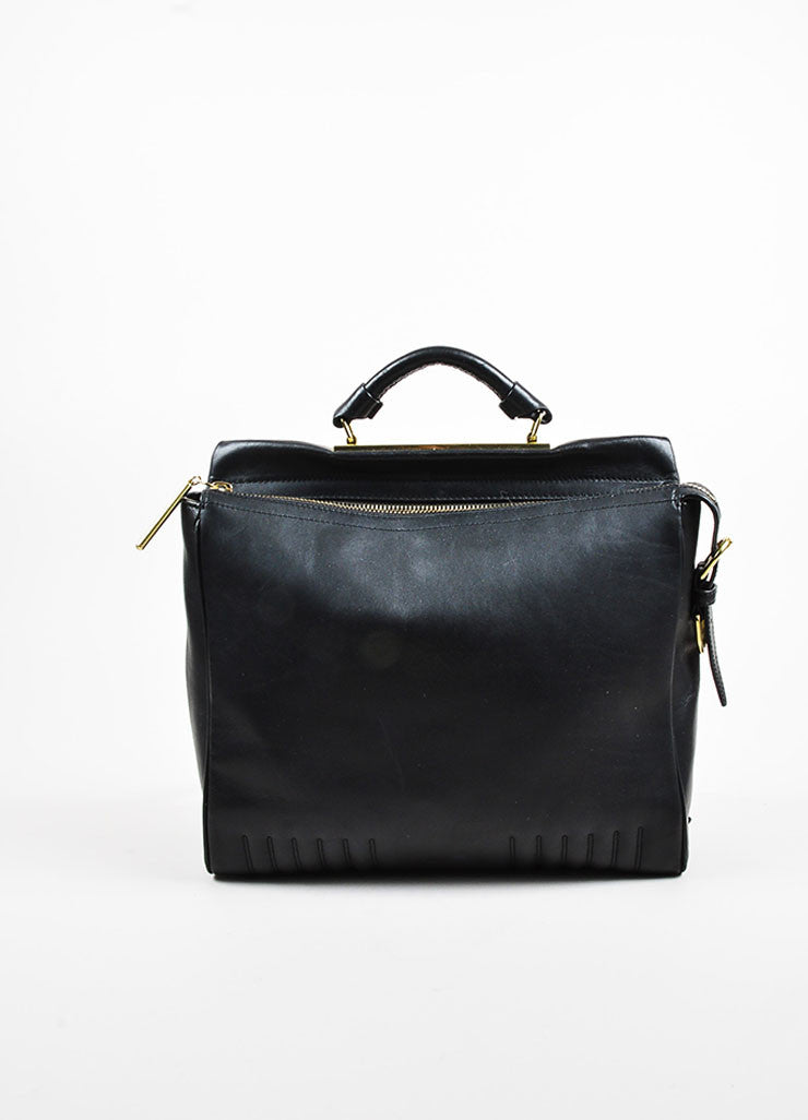 "3.1 Phillip Lim Black Leather Gold Toned Hardware ""Ryder"" Satchel Bag Frontview"