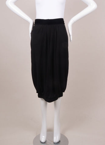 Black Jersey Bubble Skirt with Velvet Bow