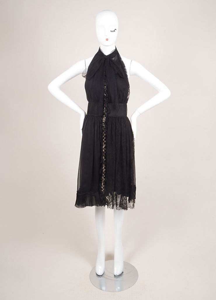 Albera Ferretti Black Sleeveless Jewel Embellished Lace Chiffon Dress Frontview