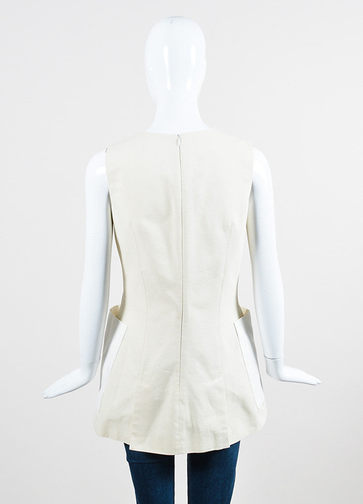 Alexander McQueen Beige and White Cotton Sleeveless A-Line Tunic Top Backview
