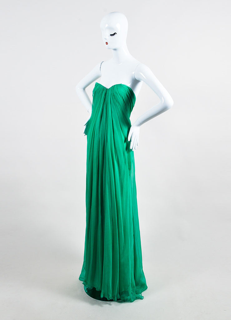 Emerald Green Alexander McQueen Chiffon Strapless Gown Side