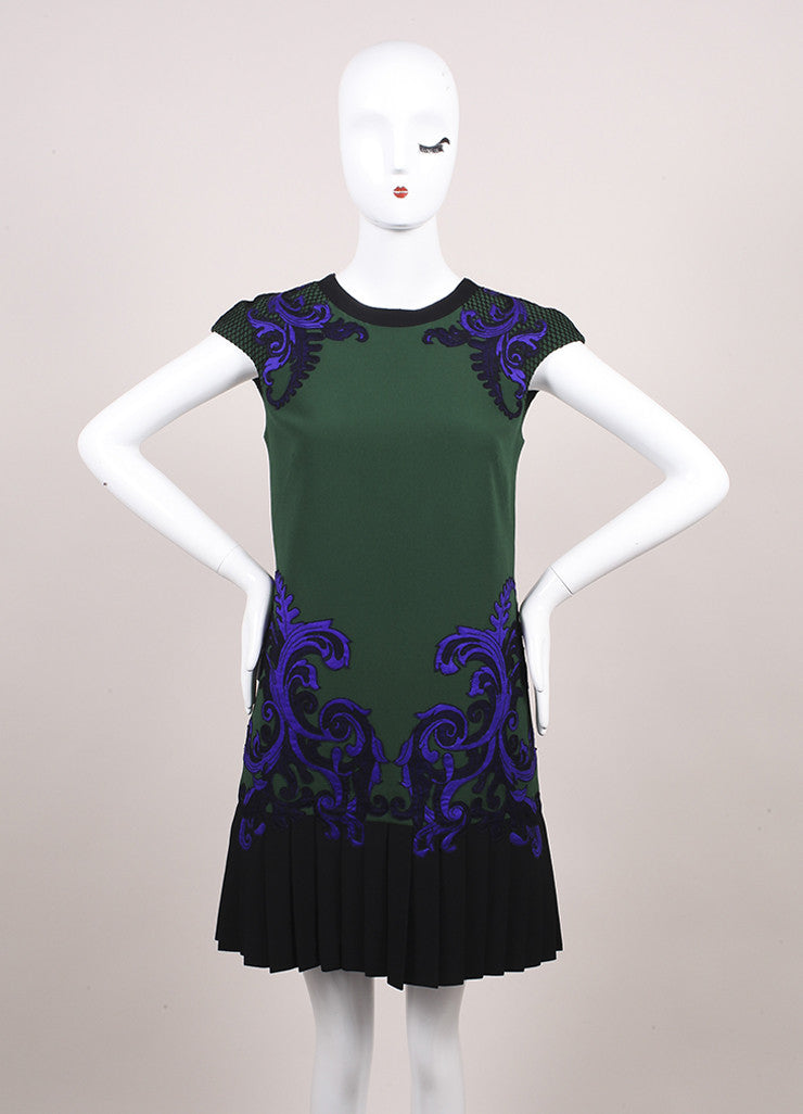 Andrew Gn New With Tags Multicolor Embroidered and Pleated and Cap Sleeve Dress Frontview