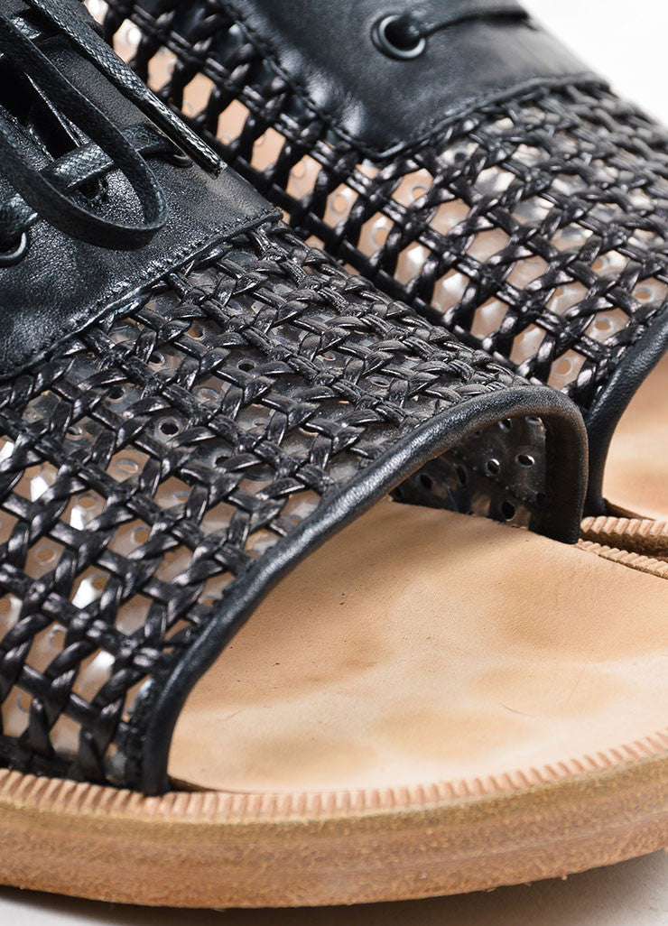 Black Balenciaga Woven Leather Lace Up Flat Sandals Detail