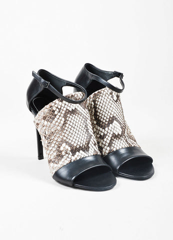 Black, White, and Brown Balenciaga Snake Leather Wrap Heel Sandals Frontview