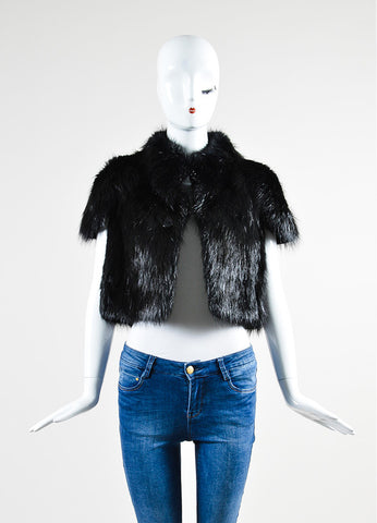 Black Barbara Bui Fur Cropped Short Sleeve Shrug Jacket Frontview