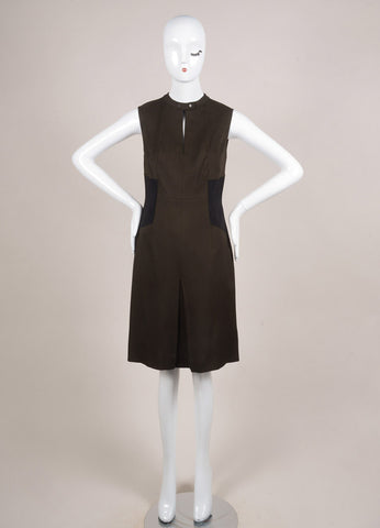 Belstaff Army Green and Black Woven Sleeveless Pleated Dress Frontview