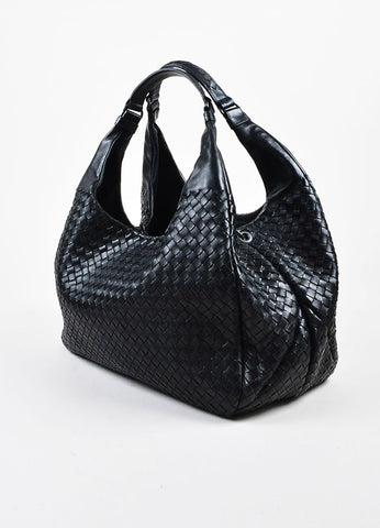 "Bottega Veneta ""Nero"" Black Nappa Leather Intrecciato ""Campana"" Hobo Bag Sideview"
