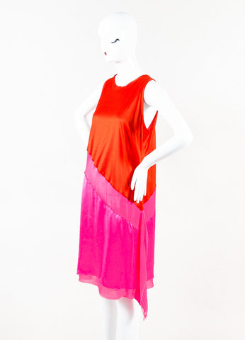 Bottega Veneta Hot Pink Red Silk Blend Asymmetrical Color Block Dress Side
