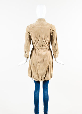 Brunello Cucinelli Tan Suede Drawstring Rope Belted Zip Front Jacket Backview