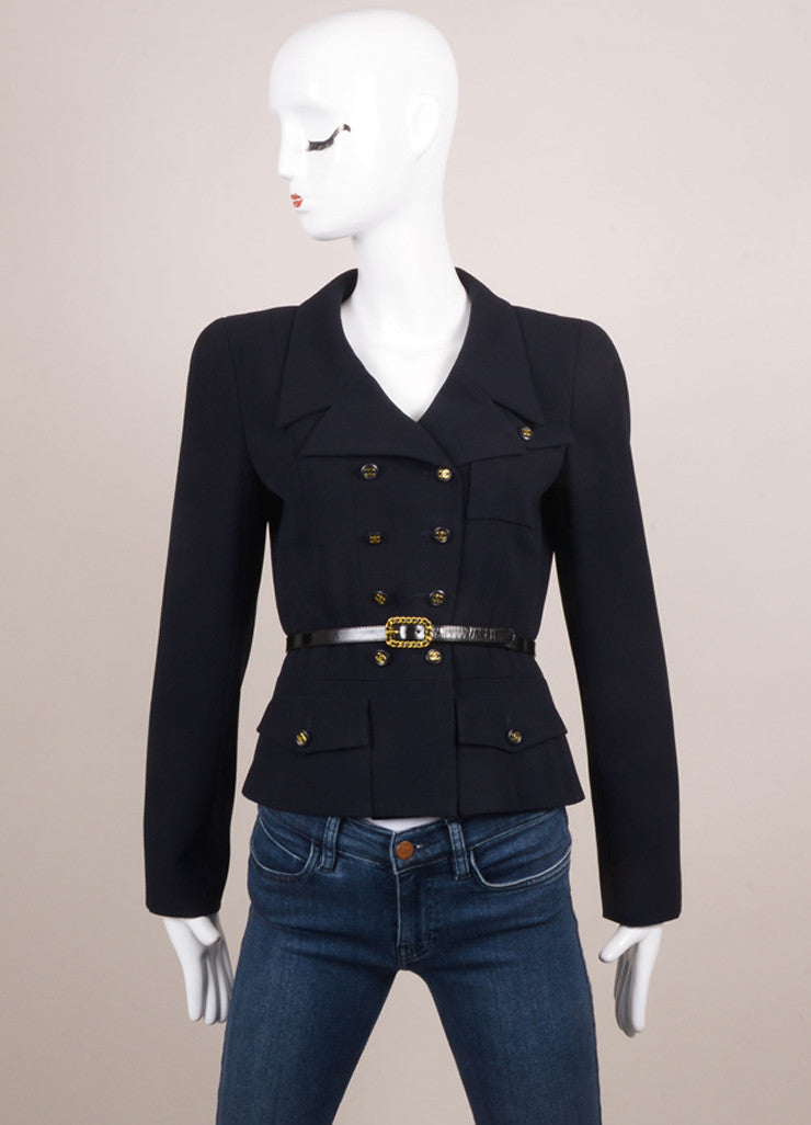 Chanel Navy Double Breasted Belted Jacket Frontview