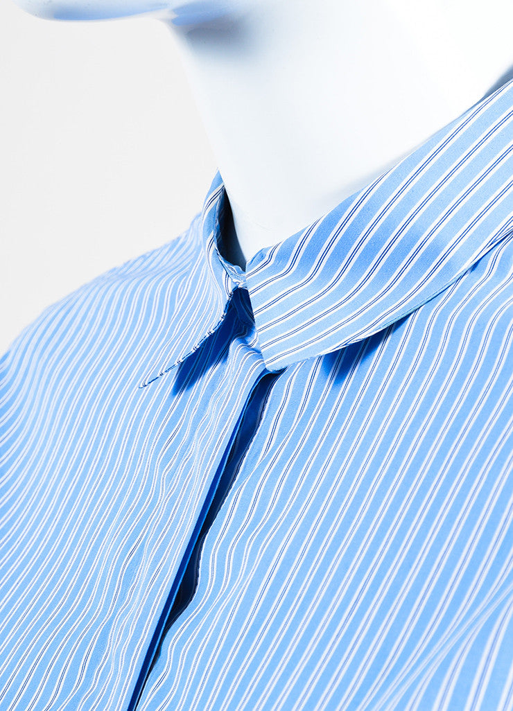 •ÈÀCeline Blue White Cotton Striped Oversized Button Down Long Sleeve Shirt Detail