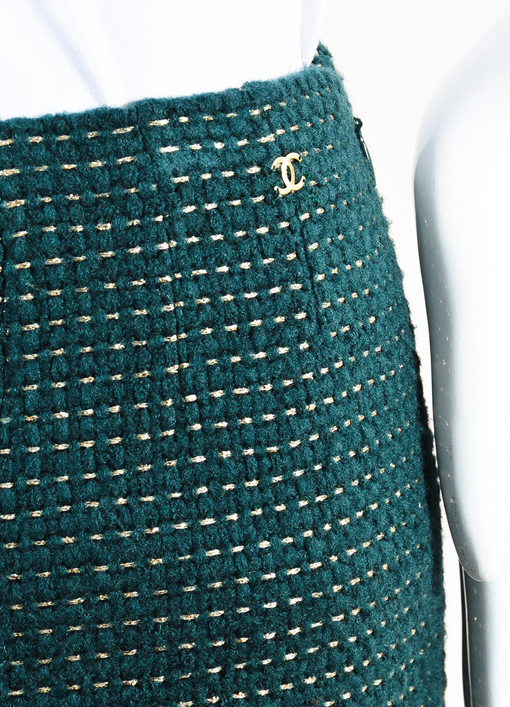 Chanel Hunter Green and Gold Wool Dotted High Waisted Trouser Pants Detail