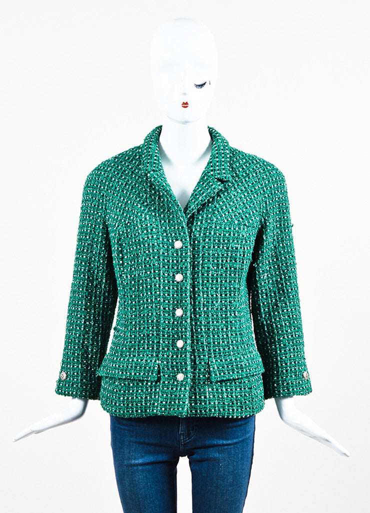 Green and White Chanel Tweed 'CC' Button Jacket Frontview 2