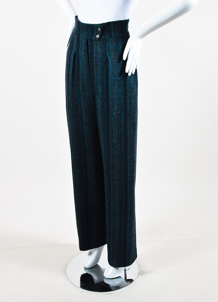 Chanel Navy Blue and Teal Wool Wide Leg Pants Sideview