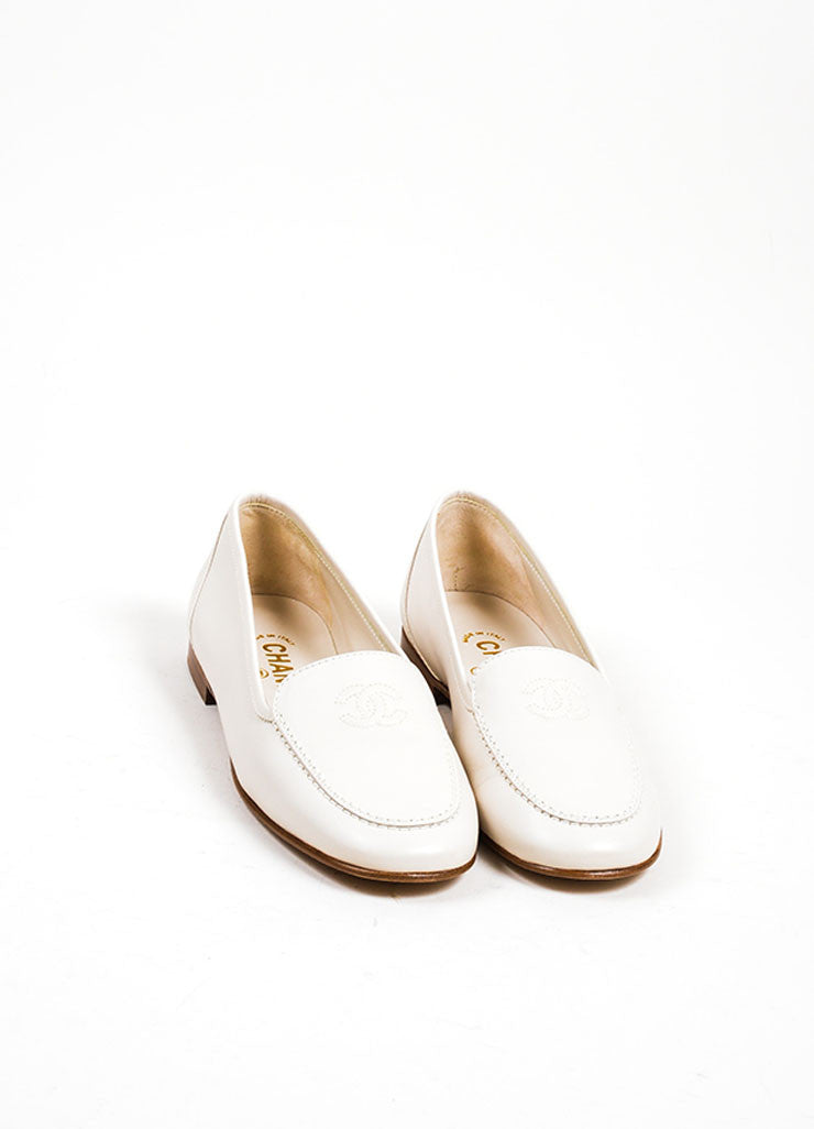 Beige Leather Chanel 'CC' Embroidered Round Toe Moccasin Loafers Frontview