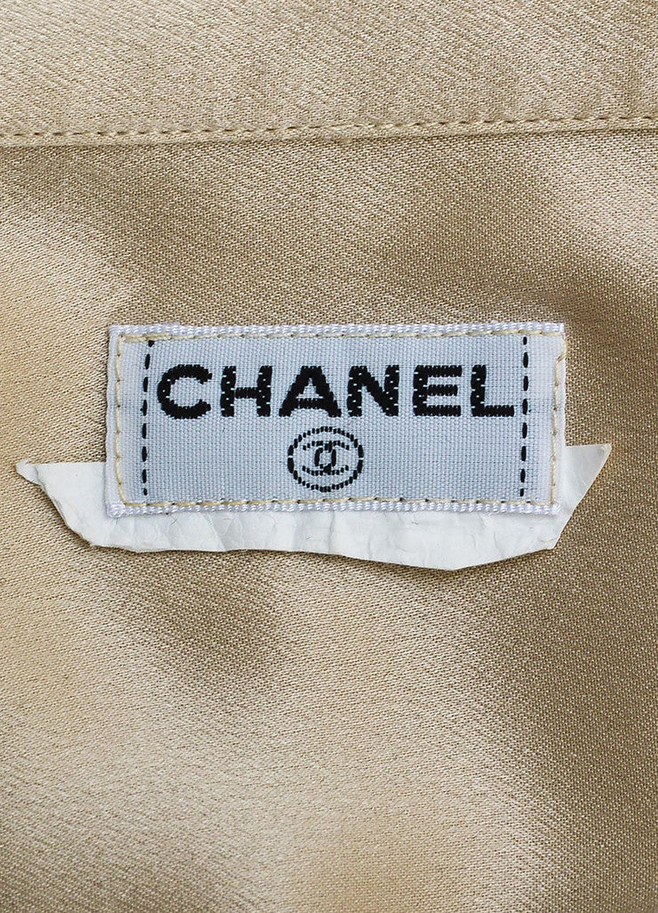 Chanel Beige Silk Satin Gold Toned 'CC' Button Chest Pocket Long Sleeve Blouse Top Brand