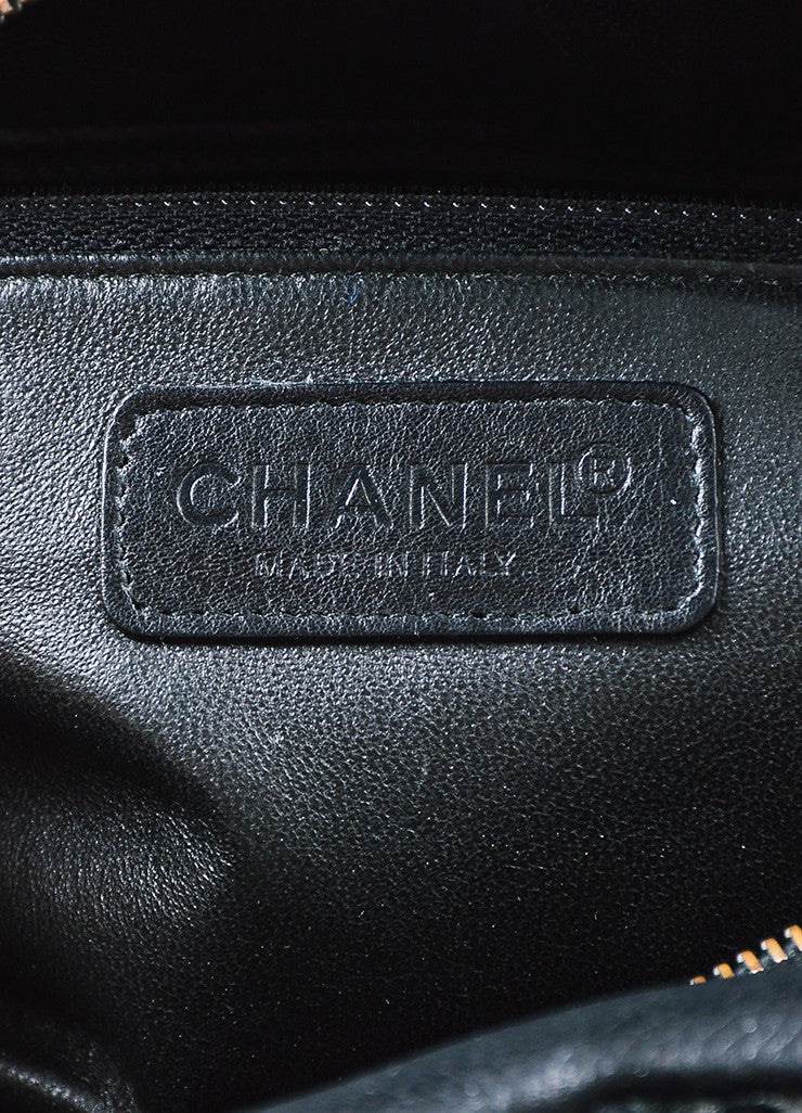 Chanel Black Leather Glossy Logo Detail and Top Handle Quilted Bowler Bag Brand