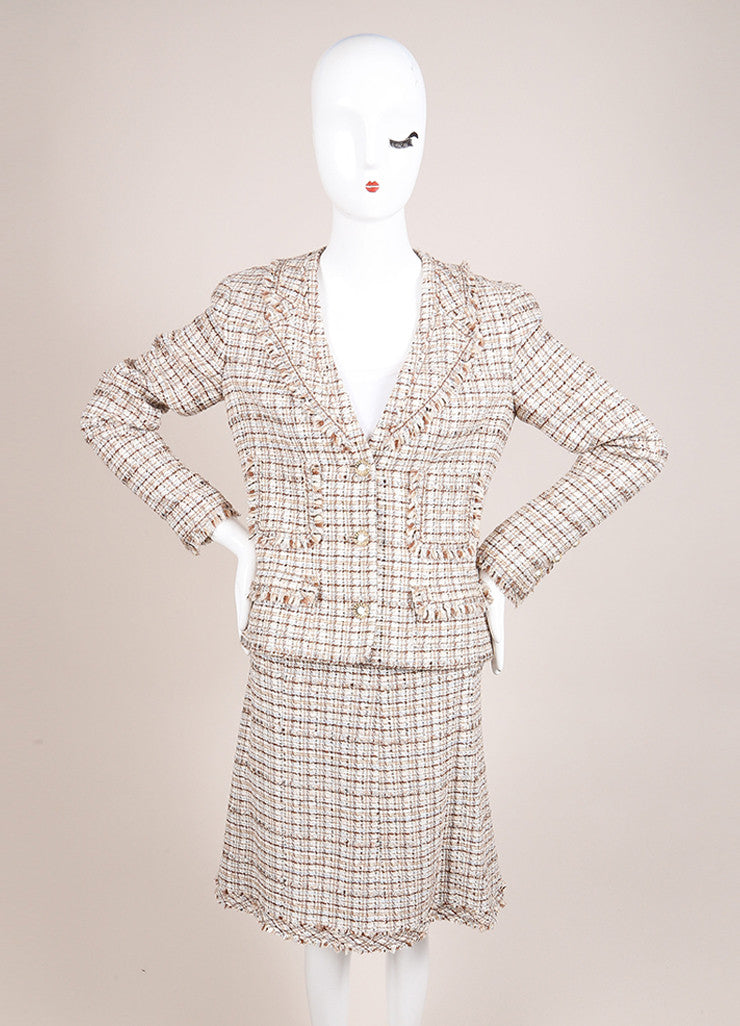 Chanel New With Tags Brown and Cream Silk and Wool Tweed Fringe Trim Skirt Suit Frontview