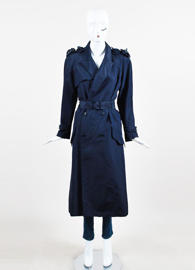 Navy Blue Chanel Silk Camellia Applique Belted 'CC' Button Trench Coat Frontview