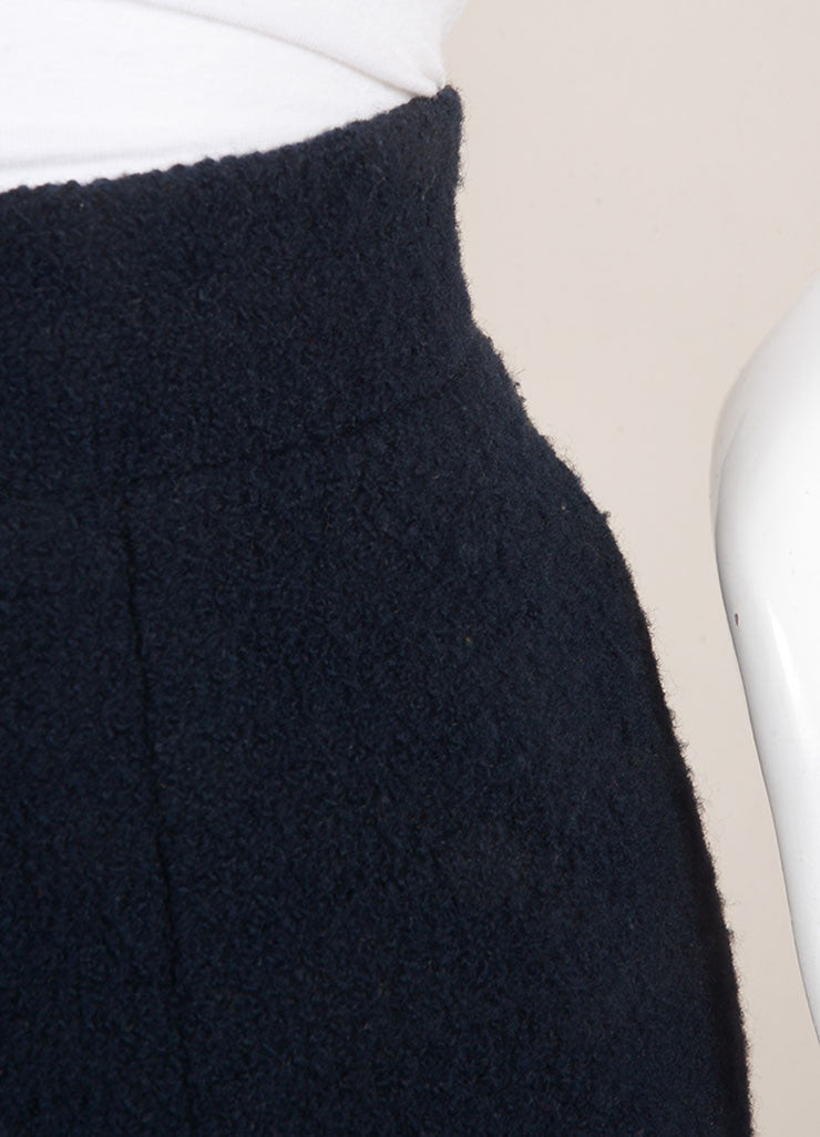 Chanel Navy Blue Wool Knit Pencil Skirt Detail