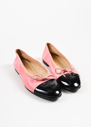 Pink and Black Chanel 'CC' Cap Toe Ballerina Flats Front