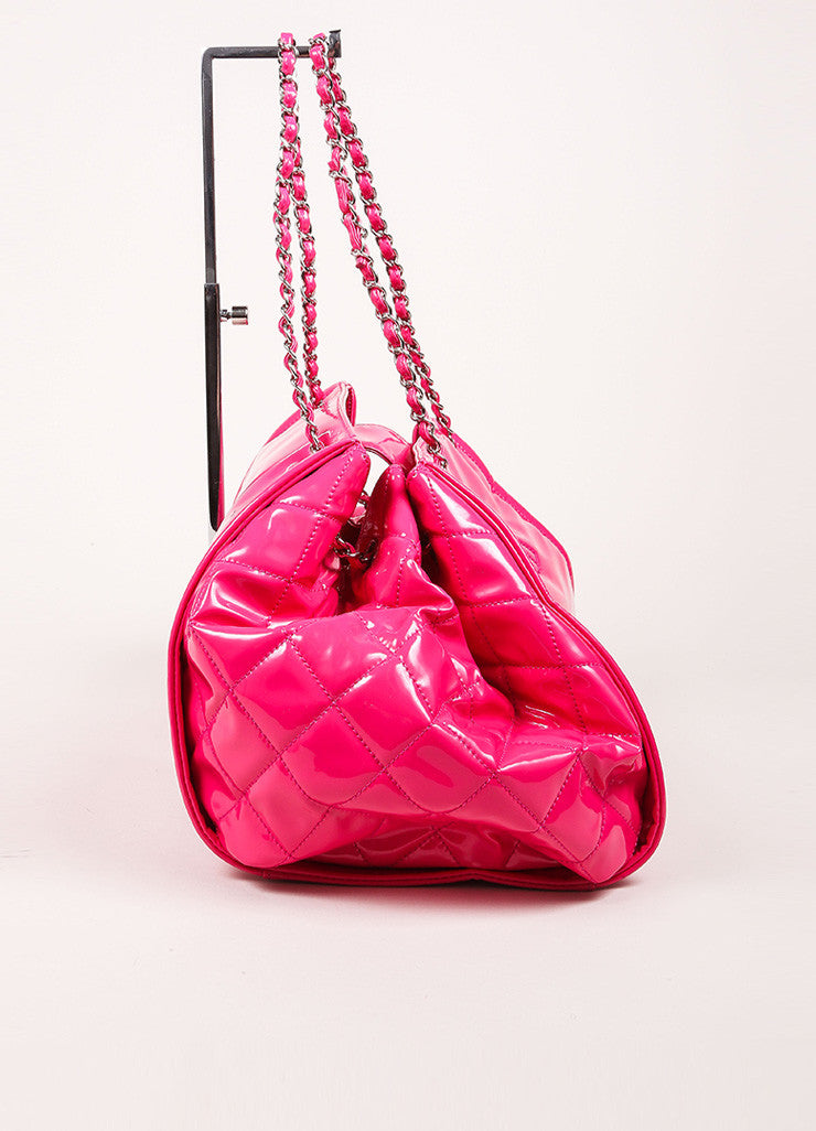 "Chanel Pink With Silver Tone Hardware Patent Quilted 'CC' Logo Chain Strap ""Accordion"" Tote Sideview"