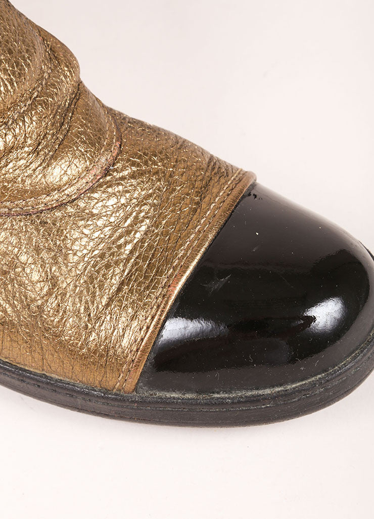 Chanel Gold Toned and Black Leather Victorian Hook Buckle Flat Booties Detail