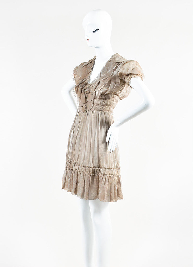 Chanel Sample Taupe Silk V-Neck Short Sleeve Ruffle Flare Hem Dress Sideview