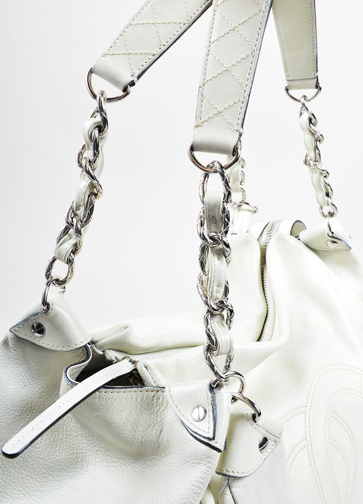 "Chanel White Caviar Leather ""CC"" Embroidered Oversized Hobo Bag Detail 2"