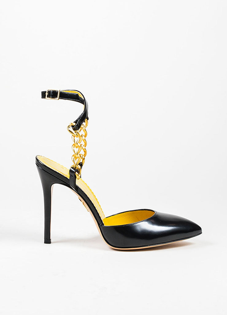 "Black Leather Charlotte Olympia Gold Chain ""Ines"" Pointed Pumps Sideview"