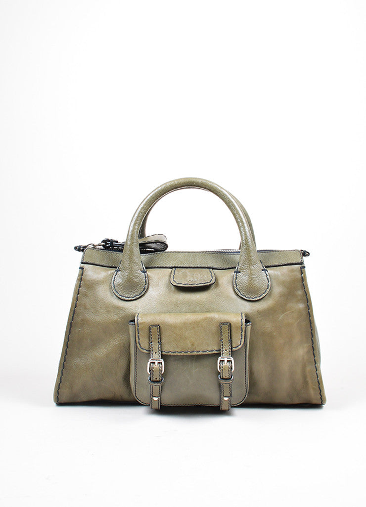 "Olive Green Chloe Leather ""Edith"" Zip Satchel Tote Bag Frontview"