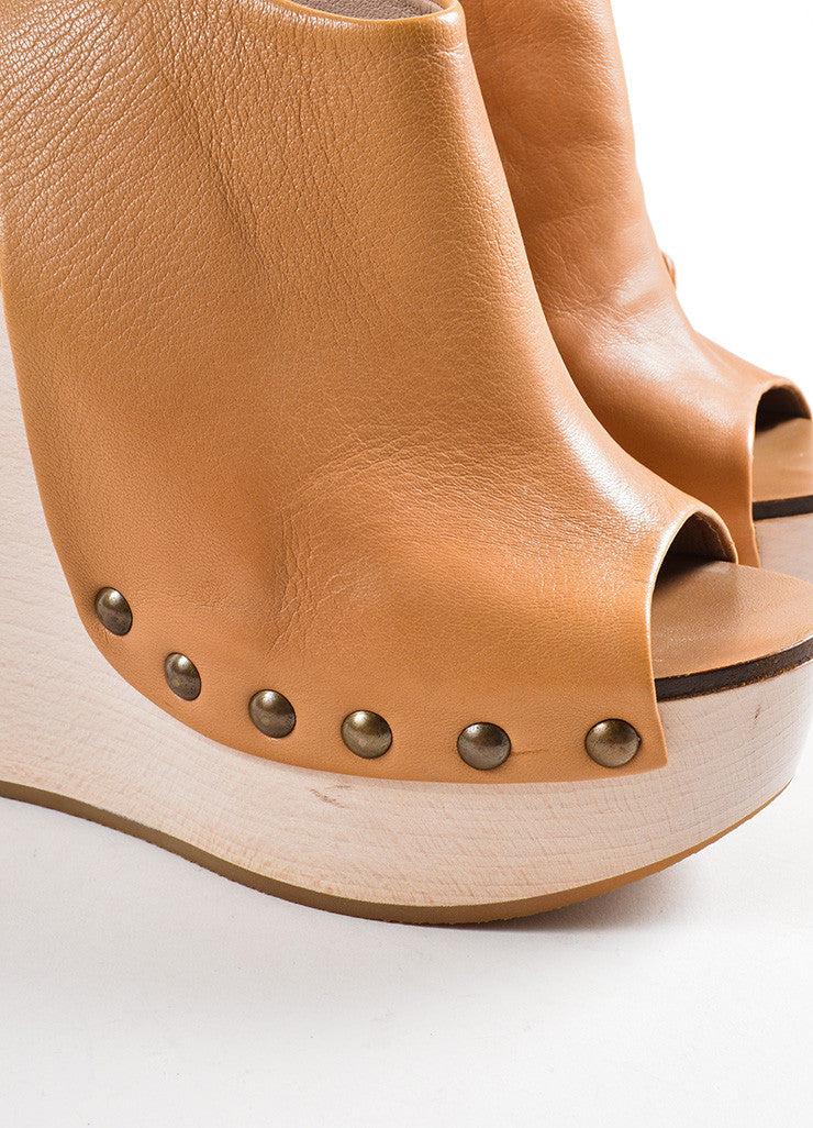 Chloe Brown Leather Studded Platform Wrap Wedges Detail