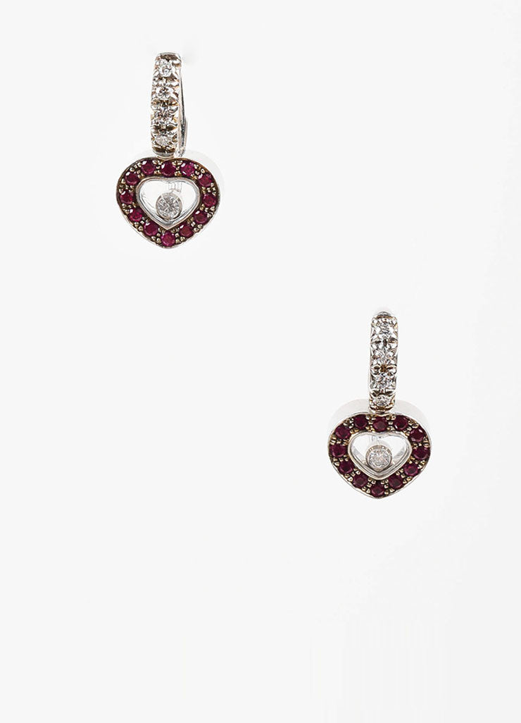 "18K White Gold, Ruby, and Floating Diamond Chopard ""Happy Hearts"" Drop Earrings Frontview"