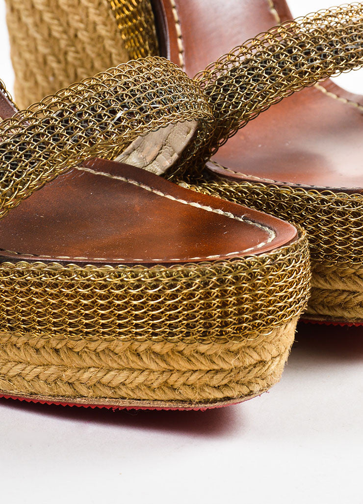 Christian Louboutin Beige and Gold Toned Chainmaille Espadrille Cadena Sandals Detail