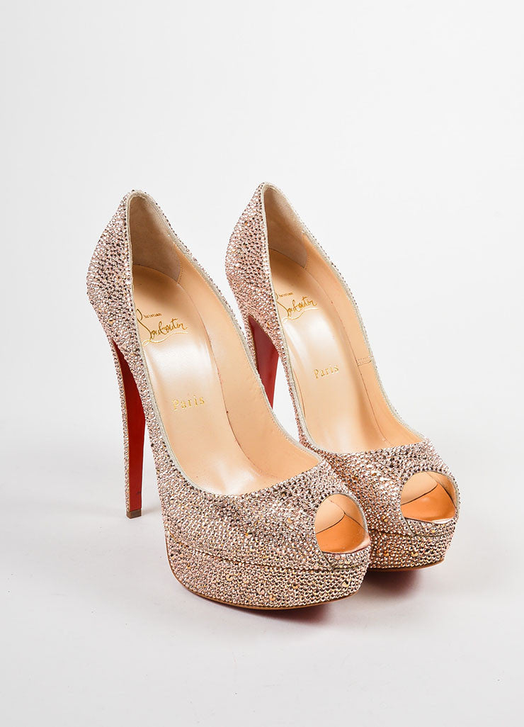 "Pink Crystal Christian Louboutin ""Lady Peep Strass 150"" Pumps Frontview"