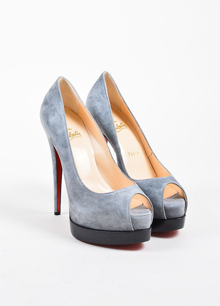 "Grey Suede Christian Louboutin ""Palais Royal Trepointe 140"" Pumps Frontview"