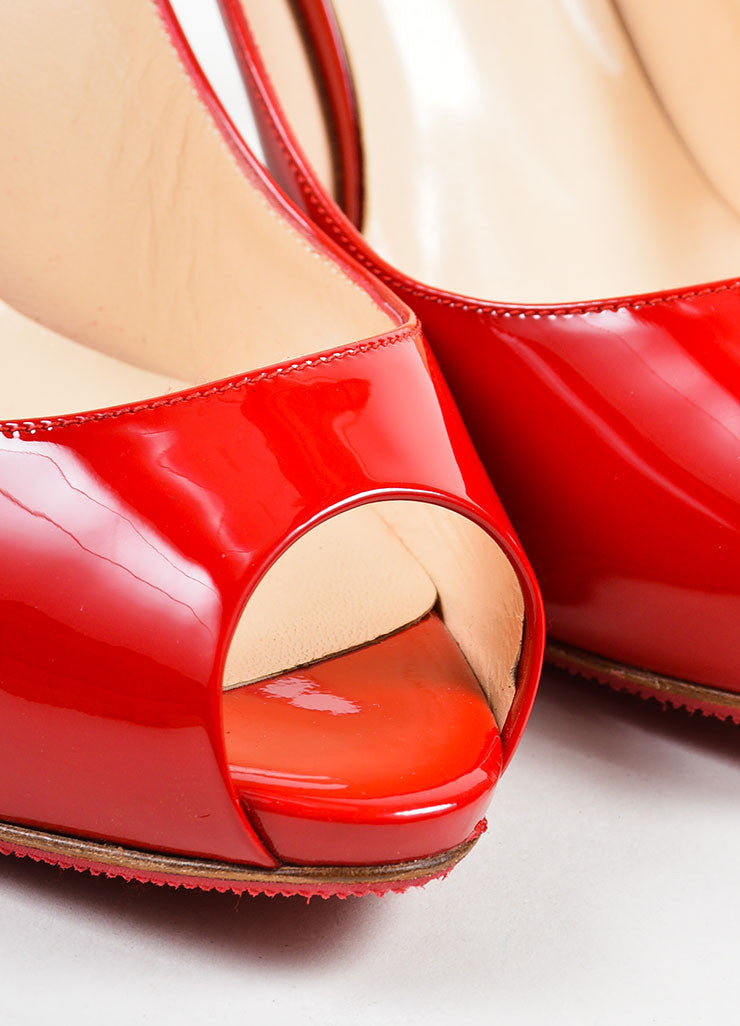 "Red Christian Louboutin Patent Peep Toe ""Lady Sling 100"" Pumps Detail"