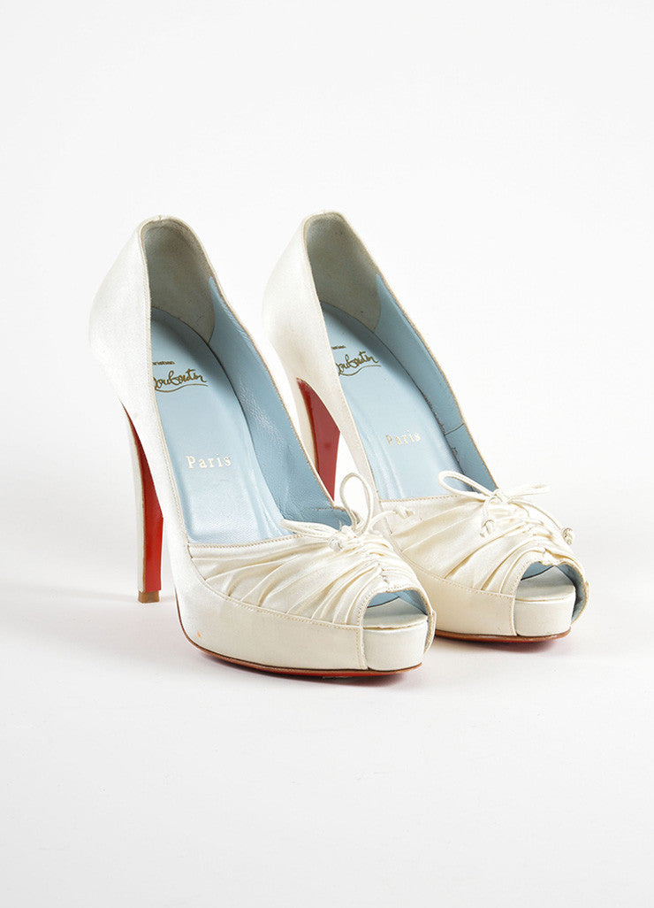 "Christian Louboutin White Satin Ruched Bow Tie ""Very Pli"" Platform Pumps Frontview"